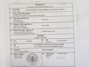 Documentation Legalisation Apostilles